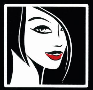 Logo-met rode lippen